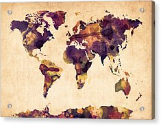 World Map Watercolor Acrylic Print by Michael Tompsett