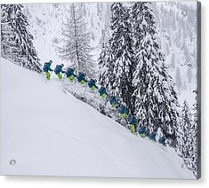 Young Male Freerider Skiing Down A Powder Slope Acrylic Print by Leander Nardin