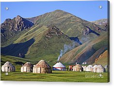 Yurts In The Tash Rabat Valley Of Kyrgyzstan  Acrylic Print by Robert Preston