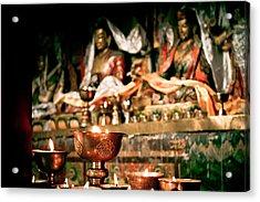 Zuthrul Phug Monastery Milarepas Cave Acrylic Print by Raimond Klavins