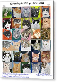 30 Paintings In 30 Days - Cats Acrylic Print by Lou Belcher