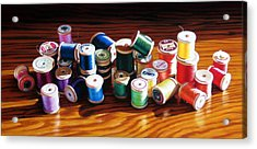 30 Wooden Spools Acrylic Print by Dianna Ponting