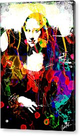 31x48 Mona Lisa Screwed - Huge Signed Art Abstract Paintings Modern Www.splashyartist.com Acrylic Print by Robert R Splashy Art Abstract Paintings
