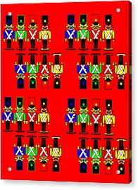32 Nutcracker Soldiers On Red Acrylic Print by Asbjorn Lonvig