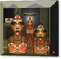 338 - Aliens With Egyptian Touch Acrylic Print by Irmgard Schoendorf Welch