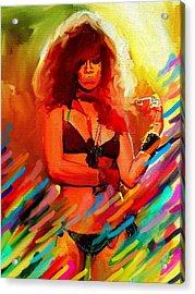 Rihanna Acrylic Print by Bogdan Floridana Oana