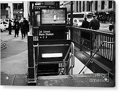 34th Street Entrance To Penn Station Subway New York City Acrylic Print by Joe Fox