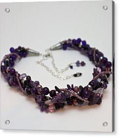3607 Multi Strand Adjustable Amethyst Necklace Acrylic Print by Teresa Mucha