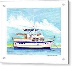 37 Foot Marine Trader 37 Trawler Yacht At Anchor Acrylic Print by Jack Pumphrey