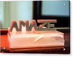 3d Printed Titanium Net Shape Acrylic Print by Esa-n. Vicente