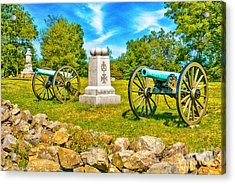 3rd Massachusetts Battery Gettysburg National Military Park Acrylic Print by Bob and Nadine Johnston