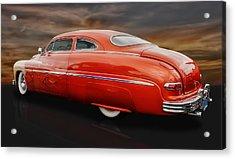 1950 Mercury Sedan With Flames Acrylic Print