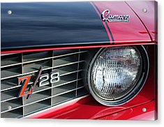 1969 Chevrolet Camaro Z-28 Grille Emblem Acrylic Print by Jill Reger