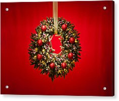 Advent Wreath Over Red Background Acrylic Print