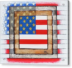 Acrylic Print featuring the painting American Flag by Steve  Hester