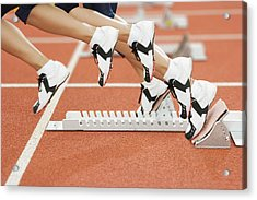 Athlete Leaving The Blocks Acrylic Print by Gustoimages/science Photo Library