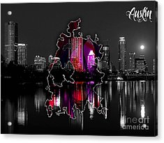 Austin Map And Skyline Watercolor Acrylic Print by Marvin Blaine