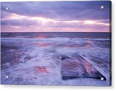 Ballyconnigar Strand At Dawn Acrylic Print by Ian Middleton