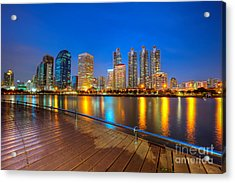 Bangkok City Night Skyline Acrylic Print by Fototrav Print