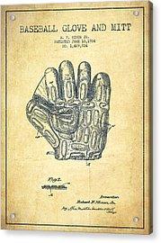 Baseball Glove Patent Drawing From 1924 Acrylic Print