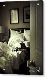 Bedroom Scene With Under Garments On Bed Acrylic Print