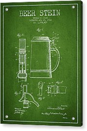 Beer Stein Patent From 1914 - Green Acrylic Print by Aged Pixel