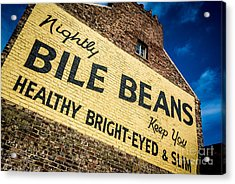Bile Beans Advertising Acrylic Print by Bailey Cooper
