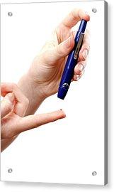 Blood Sugar Level Testing In Diabetes Acrylic Print by Aj Photo