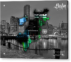 Boston Map And Skyline Watercolor Acrylic Print by Marvin Blaine