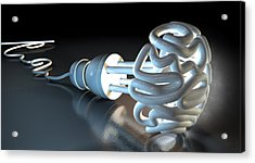 Brain Flourescent Light Bulb Acrylic Print by Allan Swart