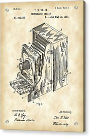Camera Patent 1887 - Vintage Acrylic Print by Stephen Younts
