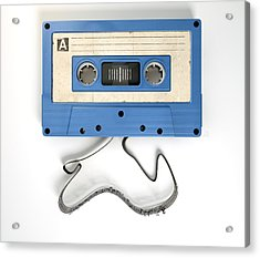Cassette Tape And Musical Notes Concept Acrylic Print