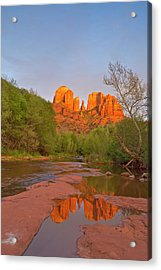 Cathedral Rocks Reflect Into Oak Creek Acrylic Print by Chuck Haney