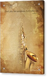 Charlie Parker Quote - Sax Acrylic Print by Pablo Franchi
