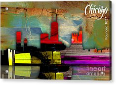 Chicago Skyline Watercolor Acrylic Print by Marvin Blaine