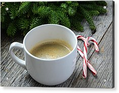 Coffee And Candy Cane For The Holidays With Christmas Pine Branc Acrylic Print
