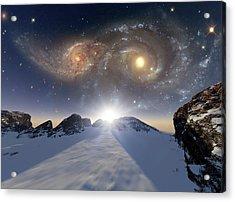 Colliding Galaxies Acrylic Print by Detlev Van Ravenswaay