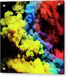 Coloured Smoke Mixing In Dark Room Acrylic Print