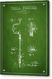 Drill Pounder Patent Drawing From 1922 Acrylic Print