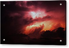 Acrylic Print featuring the photograph Dying Storm Cells With Fantastic Lightning by NebraskaSC