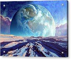 Earth-like Alien Planet Acrylic Print by Detlev Van Ravenswaay