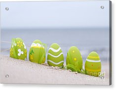 Easter Decorated Eggs On Sand Acrylic Print by Michal Bednarek