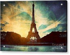 Eiffel Tower In Paris Fance In Retro Style Acrylic Print by Michal Bednarek