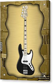 Fender Bass Guitar Collection Acrylic Print by Marvin Blaine