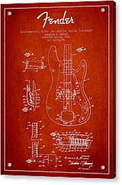 Fender Guitar Patent Drawing From 1961 Acrylic Print