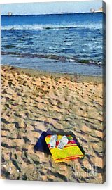Flip Flops And Towels On Beach Acrylic Print