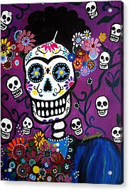 Acrylic Print featuring the painting Frida Dia De Los Muertos by Pristine Cartera Turkus