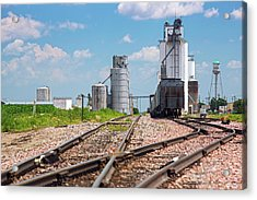 Grain Elevators And Railway Acrylic Print by Jim West