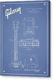 Hart Gibson Electrical Musical Instrument Patent Drawing From 19 Acrylic Print by Aged Pixel