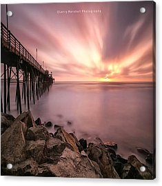 Long Exposure Sunset At The Oceanside Acrylic Print by Larry Marshall